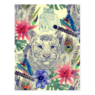 Carte Postale Motif indien vintage de tigre de style