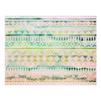 Carte Postale Motif inspiré par Aztèque en pastel d'aquarelle