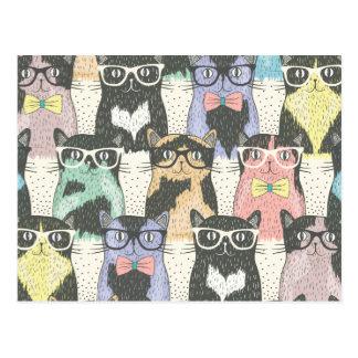 Carte Postale Motif mignon de chats de hippie