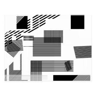 Carte Postale Motif moderne blanc noir abstrait de rayure de
