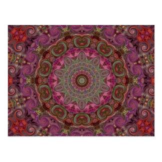 Carte Postale Motif moderne d'art de mandala de kaléidoscope