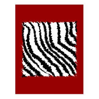 Carte Postale Motif noir d'impression de zèbre sur rouge-foncé.