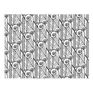 Carte Postale Motif noir et blanc d'art déco