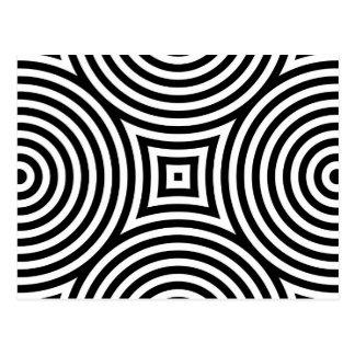 Carte Postale Motif noir et blanc de cercles concentriques