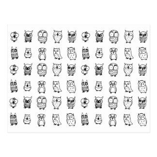 Carte Postale motif noir et blanc de hiboux de bande dessinée