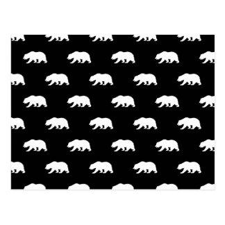Carte Postale Motif noir et blanc d'ours gris