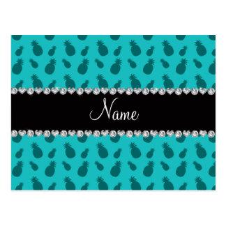 Carte Postale Motif nommé personnalisé d'ananas de turquoise