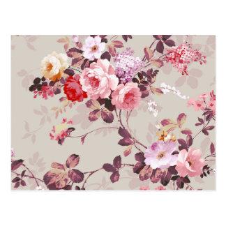 Carte Postale Motif pourpre rouge-rose élégant vintage de roses