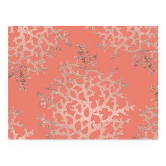 Carte Postale Motif rose de mer de corail d'or d'été sur le