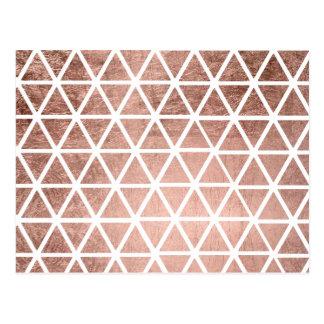 Carte Postale Motif rose de triangles de feuille d'or de faux