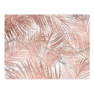 Carte Postale Motif rose tropical de marbre de feuille de