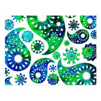 Carte Postale Motif tourbillonnant Paisley dans vert et le bleu