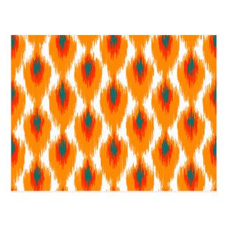 Carte Postale Motif tribal abstrait orange de diamant de Teal