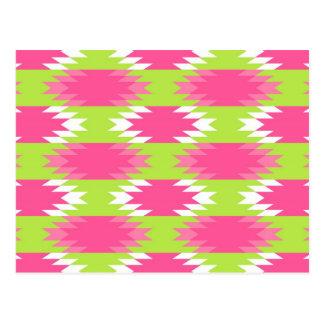 Carte Postale Motif tribal aztèque de vert de chaux de roses