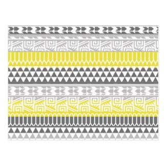 Carte Postale Motif tribal aztèque géométrique gris jaune