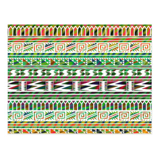 Carte Postale Motif tribal aztèque géométrique multicolore