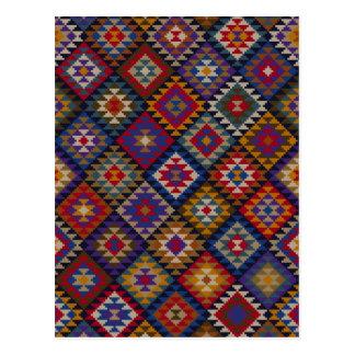 Carte Postale Motif tricoté géométrique d'édredon