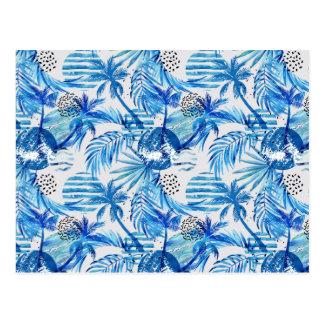 Carte Postale Motif tropical bleu lumineux d'aquarelle