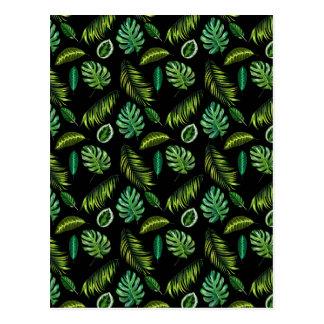 Carte Postale Motif tropical Tiki floral fait main de feuille