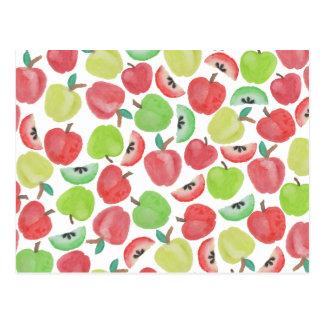 Carte Postale Motif vert rouge de fruit de pommes d'aquarelle