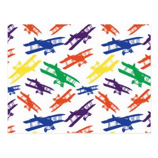 Carte Postale Motif vintage d'avion de biplan de couleurs