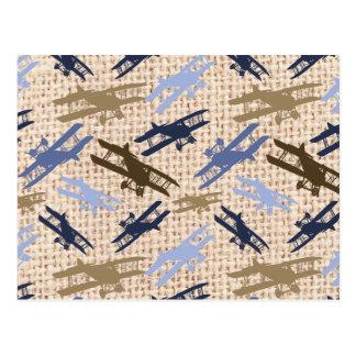 Carte Postale Motif vintage d'avion d'impression de toile de