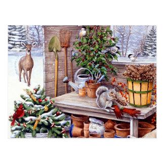 Carte Postale Motif vintage de vacances de Père Noël de Noël