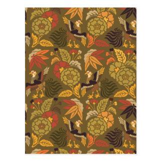 Carte Postale Motif vintage floral de Japonais de Kabuki