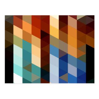 Carte Postale Motifs géométriques triangles bleues et oranges de