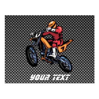 Carte Postale Motocross de fibre de carbone de Faux