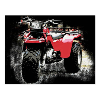 Carte Postale Motocyclette rouge de tricycle d'ATC à roues par