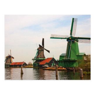 Carte Postale Moulins à vent néerlandais, Zaanse Schans.
