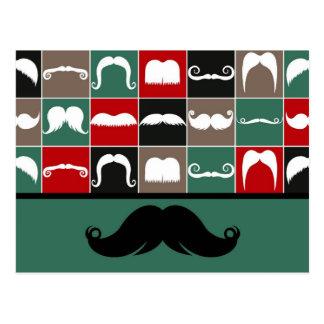 Carte Postale Moustache à la mode de guidon pour la fête des