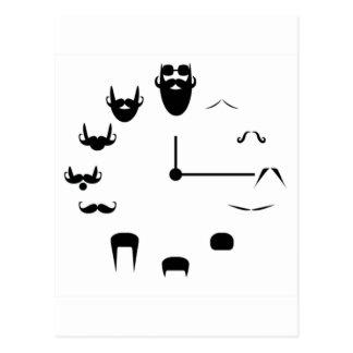 Carte Postale Moustache Clockface