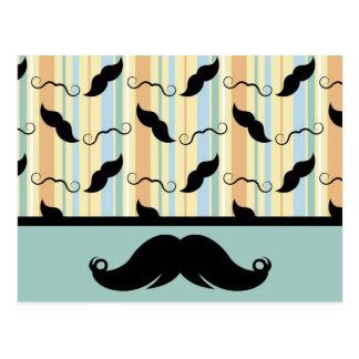 Carte Postale Moustache, guidon noir, cadeau pour le papa !