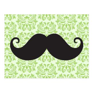 Carte Postale Moustache noire de guidon sur le motif vert de