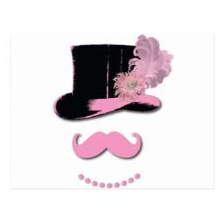 Carte Postale Moustache rose, casquette supérieur, plumes, et