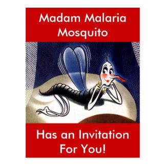 Carte Postale Moustique vintage de Madame malaria
