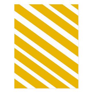 Carte Postale Moutarde diagonale de chevron de rayure jaune