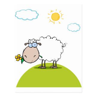 Carte Postale Moutons géniaux avec la fleur dans la bouche