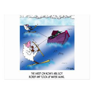 Carte Postale Moutons sur le ski d'eau d'arche