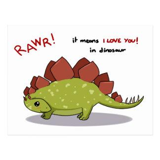 Carte Postale Moyens de Rawr je t'aime dans le Stegosaurus de