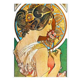 Carte Postale Mucha floral vintage