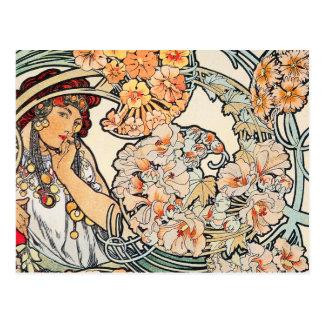 Carte postale : Mucha - langue des fleurs