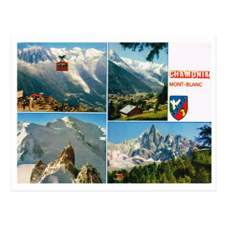 Carte Postale Multiview d'alpes françaises vintages, Chamonix