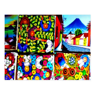 Carte postale murale folklorique maya du Guatemala