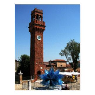 Carte Postale Murano, tour d'horloge de l'Italie et sculpture en