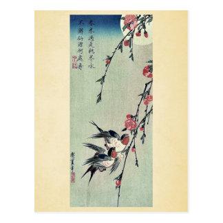 Carte Postale Musardez, des hirondelles et des fleurs de pêche