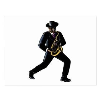 Carte Postale Musicien de jazz jouant le saxophone Scratchboard