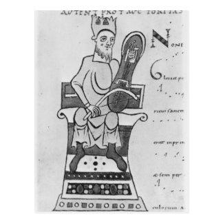 Carte Postale Musicien jouant un crouth